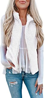 LOMON Womens Fuzzy Sherpa Fleece Jacket Lightweight Vest Cozy Sleeveless Cardigan Zipper Waistcoat Outerwear with Pocket