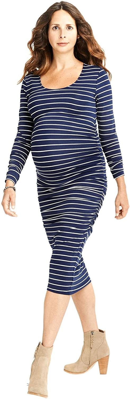 Egg by Susan Lazar Maternity Womens' Striped Knit Dress  Navy Stripe