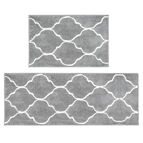 HEBE Microfiber Bath Rug Set 2 Piece Non Slip Absorbent Bath Mats Runner Set  For Bathroom