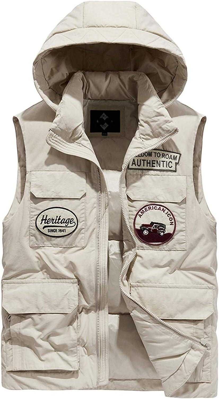 Snhpk Men's Down Vest Outerwear Gilets Coat Softshell Jacket, Winter Hooded Thicken Warm Windproof Overcoat Waistcoat,Khaki,L
