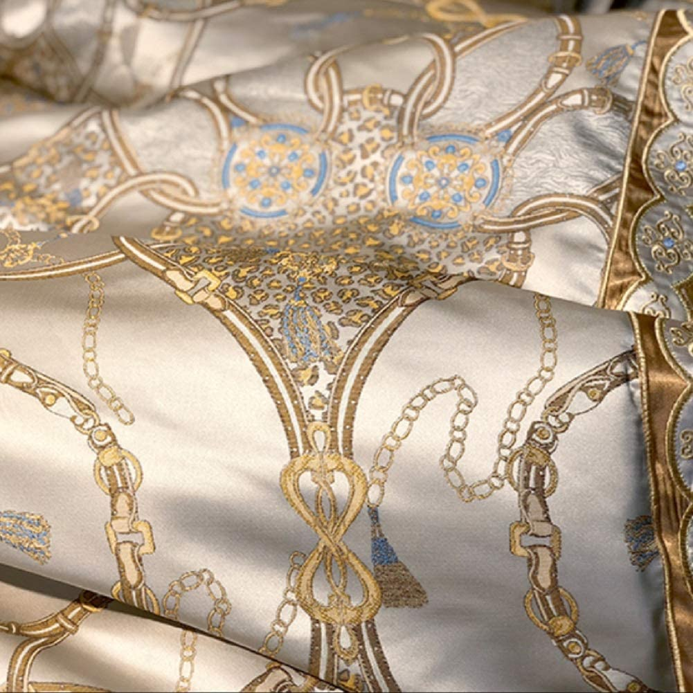 KE & LE Super King Size Ensemble de Couette lit, Impression Jacquard Soie de Faux Chambre édredons Rides Fade résistant Ensemble Parure de lit-A Queen2 A