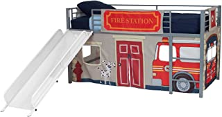DHP Junior Silver Metal Loft Bed with White Slide and Fire Department Curtain Set, Kids Furniture, Twin Size
