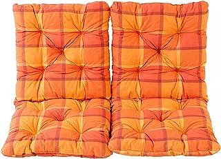 Ambientehome Lot de 2 Coussins a carreux Haut Dossier HANKO pour Fauteuil de Jardin, Coton, ca. 98 x 50 x 8 cm, Ton Orange...