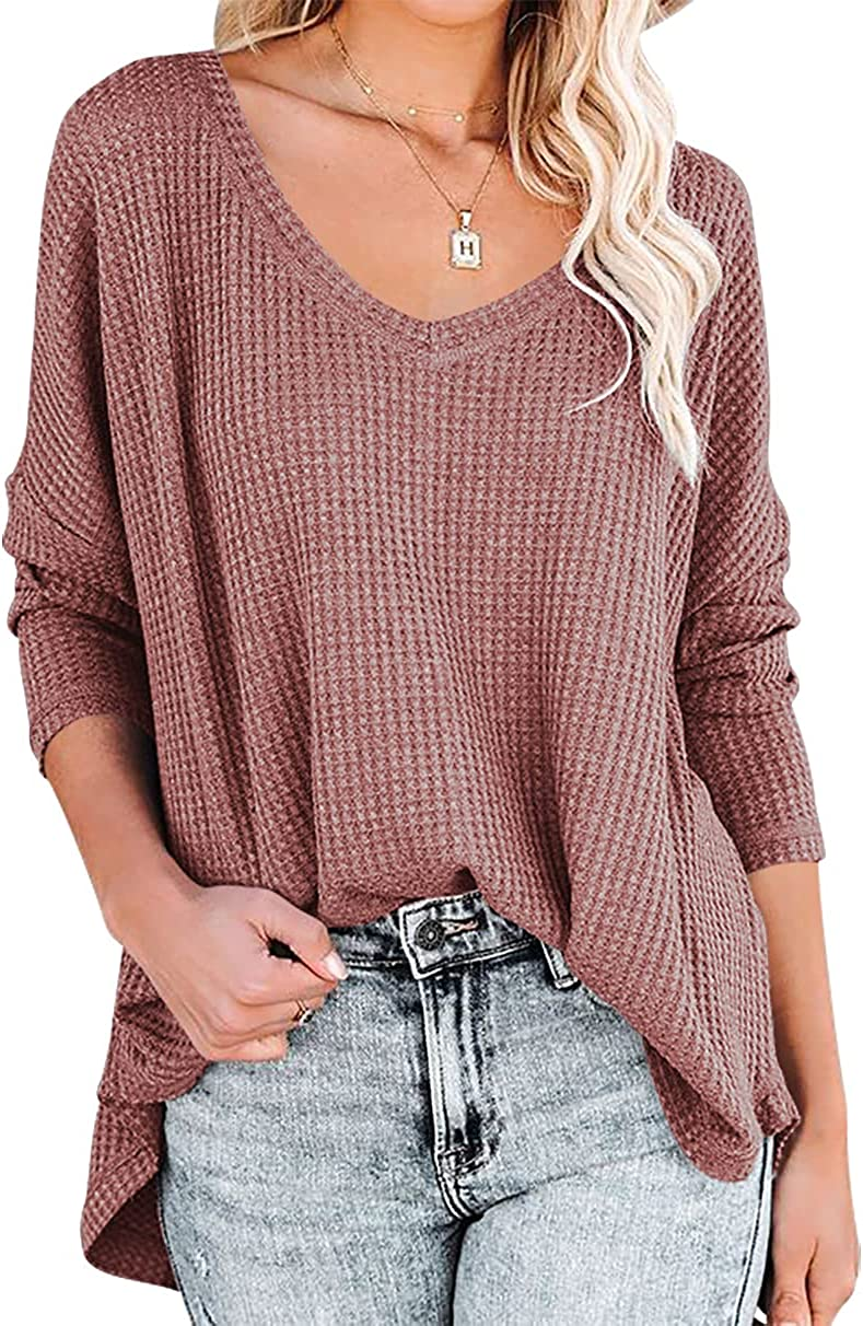 ANRABESS Women's Causal Off Shoulder Waffle Knit Shirt V-Neck Batwing Sleeve Pullover Curved Hem Tunic Tops