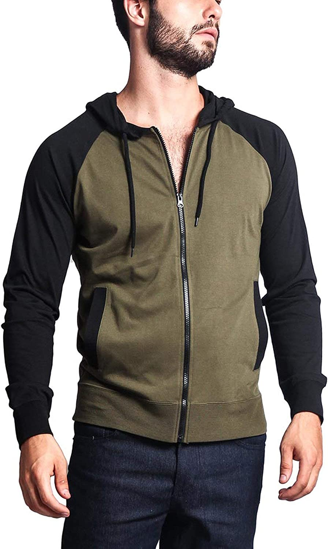 Victorious Men's Raglan Lightweight Zip Up Hoodie Sweatshirts