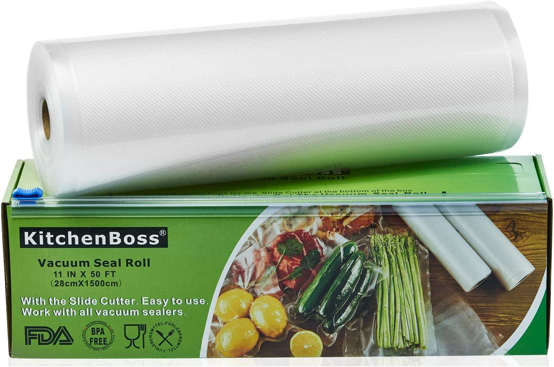 KitchenBoss Bolsas de Vacío 1 Rolls 28x1500cm con Caja de Corte (No Más Tijeras) para Almacenaje de Alimentos,Sous Vide Cocina, BPA Free