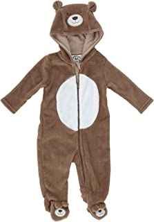 Densley & Co Infant Plush Bear Footed Sleeper Jumpsuit, 3-6 Months, Tan