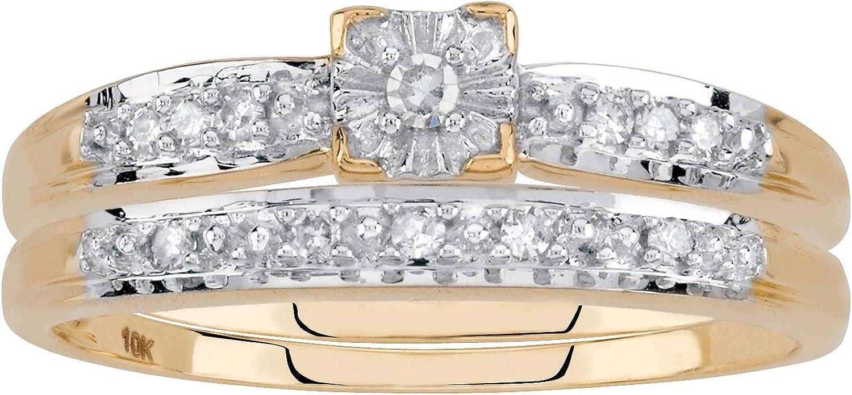 10K Yellow Gold Colorado Springs Mall Round Genuine Diamond Bridal Piece Ring 2 Set 1 Branded goods