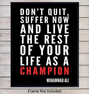 Muhammad Ali Motivational Quote Wall Art, Home Decor - Gift for Entrepreneur, Coach, Trainer, Boxing Fans - Inspirational Poster, Print - Unique Room Decorations for Office, Gym, Kids Room - 8x10