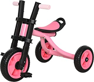 Qaba 3 Wheel Kids Tricycle Toddler Walking Trikes with Adjustable Seat for 3-6 Years Old Boys & Girls Pink