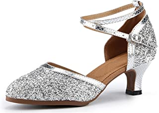 Miyoopark Women's Close Toe Glitter Ankle Strap Latin Dancing Shoes Formal Party Evening Pumps