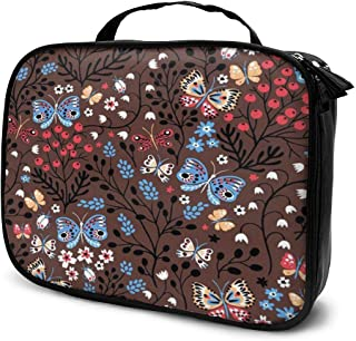 Cosmetic Bag Retro Pattern Brown Butterfly Makeup Bag Lightweight Portable Cosmetic Case Water Resisted Cosmetic Makeup Bag Durable Organizer Makeup Boxes With Insulated Pockets For Travel
