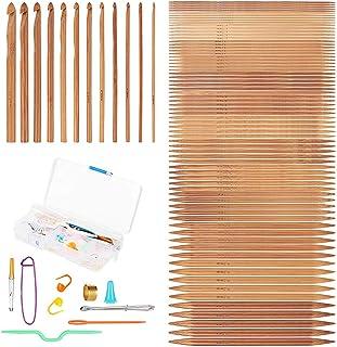 Lot de 75 crochets en bambou faits à la main pour tricoter, tricoter, tricoter, tricot, bricolage, 2-10 mm