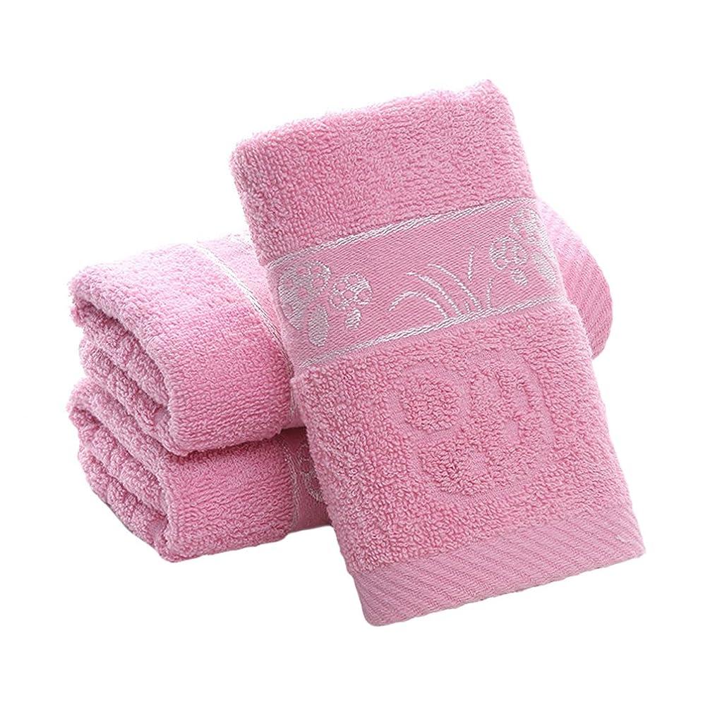 カーペット失礼な熟練した3枚セント フェイスタオル 厚手 安い おしゃれ 人気  抗菌 吸水 ピンク