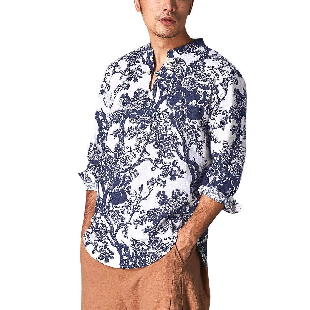 NnuoeN☀ Botón de algodón Estampado de Manga Larga para Hombre, Camisa de Manga Larga de Moda para Verano y otoño, Blusa Azul Turquesa M: Amazon.es: Jardín