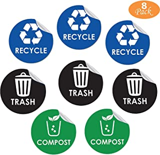 8 Pack Recycle, Trash, Compost Sign Stickers - Self-Adhesive Vinyl Decal Recycle Logos - Eco-Friendly Trash Can Signs - 6