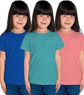 American-Elm Plain Cotton Regular Fit Stylish Tshirts for Kids Girls- Pack of 3