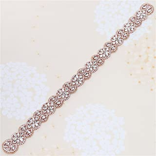 XINFANGXIU Rose Gold Bridal Rhinestone Appliques Sash Crystal Wedding Dress Belt Sew on Iron on for Formal Dress