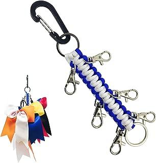 Handmade Carabiner Keychain,  Sports Cheerleading Cheer Bows Holder Keychain,  Best Gift for Teen Girls Cheerleader (Royal Blue/White)