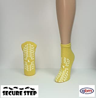 Secure Step Double-Sided Non Slip Comfort Safety Sock - Yellow - Large (2 Pair) - Men's Size: 6-7 / Women's Size: 7-8