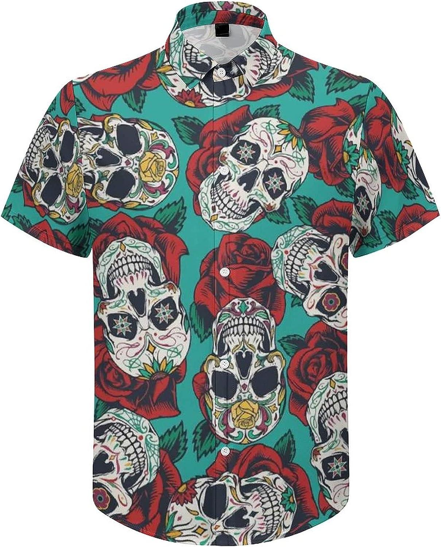 Mens Button Down Shirt Mexican Roses Skull Casual Summer Beach Shirts Tops