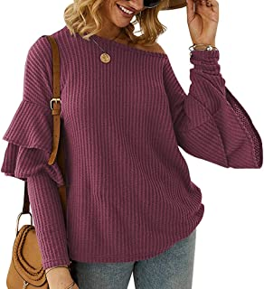 ANRABESS Women's Casual Crew Neck Ruffled Long Sleeve Waffle Knit Pullover Sweater Loose Tunic Tops
