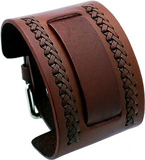 ネメシスnw-bブラウンWideレザーCuff Wrist Watch Band