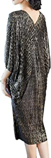 Comfyanna Comfortable & Stylish Pleated Black & Gold Metallic Midi Plus-Size Tunic Dress with V-Neckline & Batwing Sleeves, New Trend, High Elasticity | Free Size