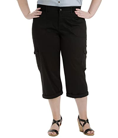 Lee Relaxed Fit Austyn Knit Waist Cargo Capris (Plus) (Black) Women