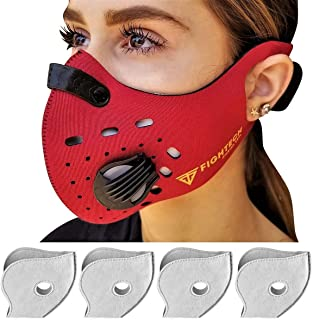 FIGHTECH Dust Mask | Mouth Mask Respirator with 4 Carbon N99 Filters for Pollution Pollen Allergy Woodworking Mowing Running | Washable and Reusable Neoprene Half Face Mask (Medium, Red)
