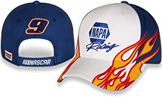 Checkered Flag Sports Chase Elliott NAPA Racing Flame #9 Twill White and Blue Cap/Hat with Adjustable Closure