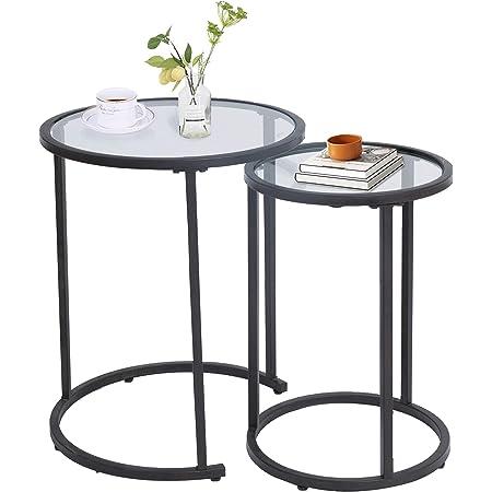 Amazon Brand - Umi Tables Gigognes Salon, Table Basse Ronde de Canapé, Table d'appoint, Cuisine et la Chambre