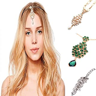 3Pcs Gold Head Chain Accessories Indian Bohemian Bollywood Jewelry for Women Headpiece