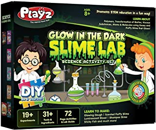 Playz Glow in The Dark Slime Lab Science Kit w/ 19+ Experiments to Make Glowing Dough, Scented Fluffy Slime, Luminescent B...