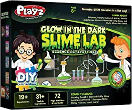 Playz Glow in The Dark Slime Lab Science Kit w/ 19+ Experiments to Make Glowing Dough, Scented Fluffy Slime, Luminescent Blood, Shampoo Slime, & Sticky Fish Through Gooey Science Activities