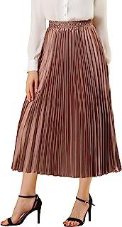 Allegra K Jupe mi-Longue plissée en accordéon métallique pour Femme