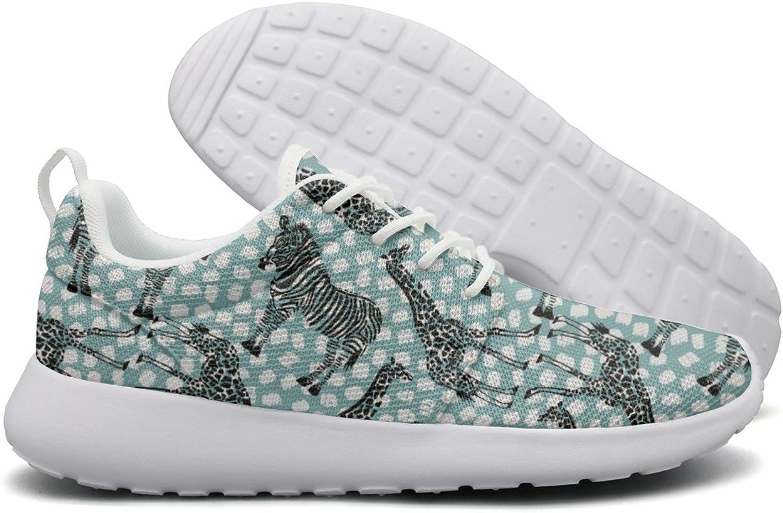 ERSER Hand Drawn Zebra Giraffe Breathable Running shoes Women