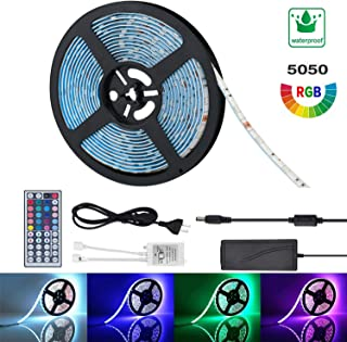 Led Light Strip Kit Waterproof 16.4ft/5m 5050 300LEDs, 12V DC RGB led Strip, Led Ribbon and Tape Light, Stronger 3M Adhesive Tape with Remote Controller for Home Kitchen Car Room Decoration Lighting