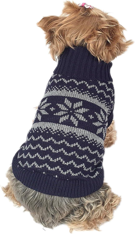 Anima Snowflake Knit Pet Sweater, XSmall bluee