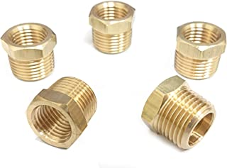 "1/4"" x 3/8"" Brass Hex Bushing, Female Pipe x Male Pipe, NPT, Pack of 5"