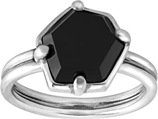 Black Hex' Natural Agate Ring in Sterling Silver