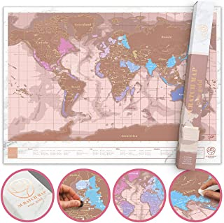 Scratch Off Map, Personalized Scratch Map of The World Poster, Premium Quality Travel Map with Countries, Capitals, Cities...