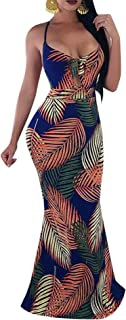 Womens Spaghetti Strap Leaf Printed Maxi Dress Bandage Bodycon Beach Holiday Long Dress