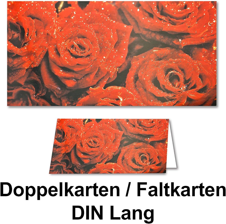 100x Grußkarten Faltkarten DIN Lang XXL Sondergröße 23 x 24 cm    Rote Rosan    mit Umschlägen B01D2U8BUU | Ausgezeichnete Leistung