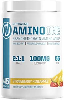 AminoOne BCAA Powder Supplement by NutraOne – Branched Chain Amino Acids to Help Fuel and Recover (Pineapple Strawberry- 4...