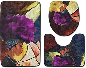 African Women Skidproof Toilet Seat Cover Set 3 PCS Bath Rug and Mat Set,C Bath Mat Washable Soft mat (Color : B)
