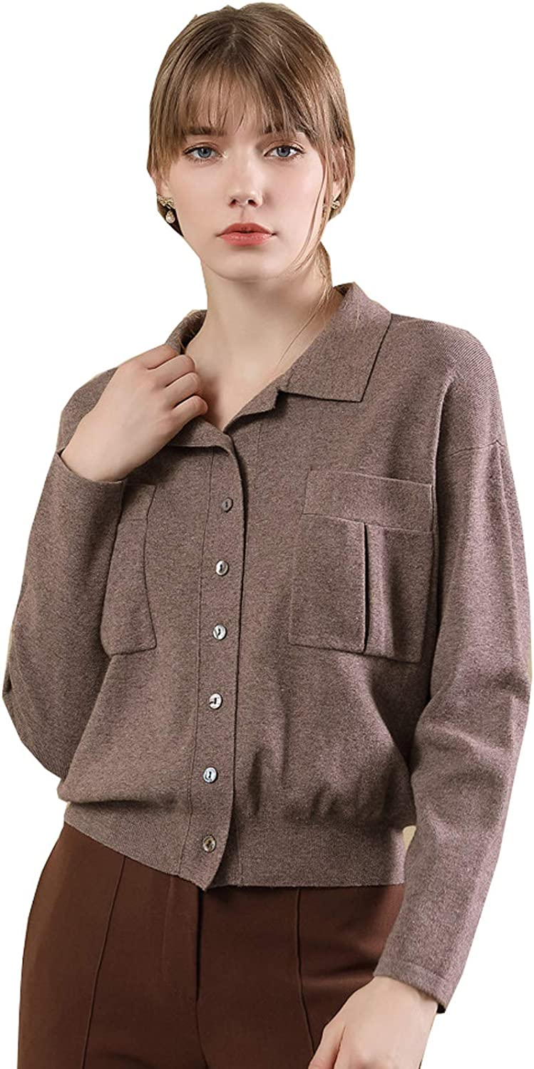 UBCAMEIYI Womens Snap Button Down Solid color Knit Ribbed Lapel Pocket Cardigans