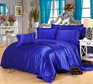MoonLight Bedding Luxurious Ultra Soft Silky Vibrant color Satin 6-Piece Bed Sheet Set with 15'' deep King, Royal Blue