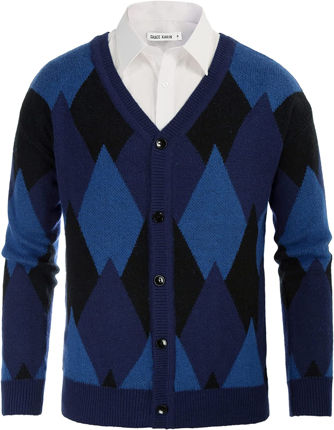 GRACE Dallas Mall Ranking TOP19 KARIN Men's V Neck Argyle Cardigan Swe Knitted Button Down
