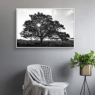 wall26 Floating Framed Canvas Wall Art for Living Room, Bedroom Black and White Tree Art Canvas Prints for Home Decoration Ready to Hang - 16x24 inches
